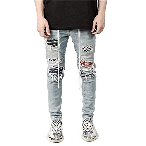 Pantalones vaqueros para hombre dañados Slim Fit Denim Street Pants Skinny Tobillo Chicos Casual Stretch Pantalones Nuevos Vaqueros Arrancados