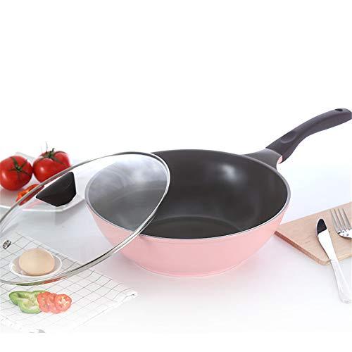 Pannen Met Deksels Ceramic Wok Pan Met Antiaanbaklaag Minder Olie Rook Pan Huishoudelijke Pot Inductie Kookplaat Wok