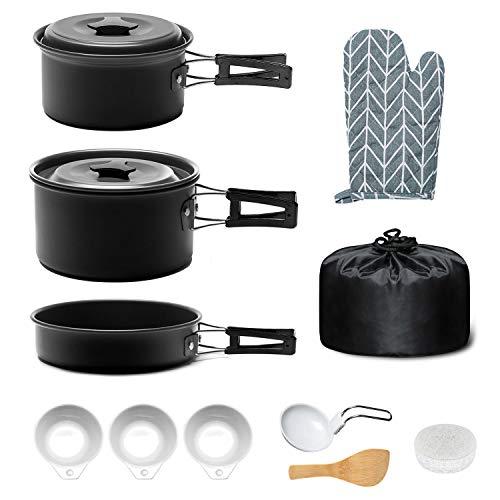 Keymao Utensilios Cocina Camping,Camping Kit de Portátil y Liviano Acero Inoxidable Ollas y Sartenes para Acampada,Excursión.