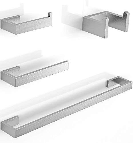 Juego de accesorios para toallero Soporte para papel higiénico Anillo para toalla Gancho para bata de baño Juego de accesorios de hardware autoadhesivo para montar en la pared de 4 piezas Baño Cocina