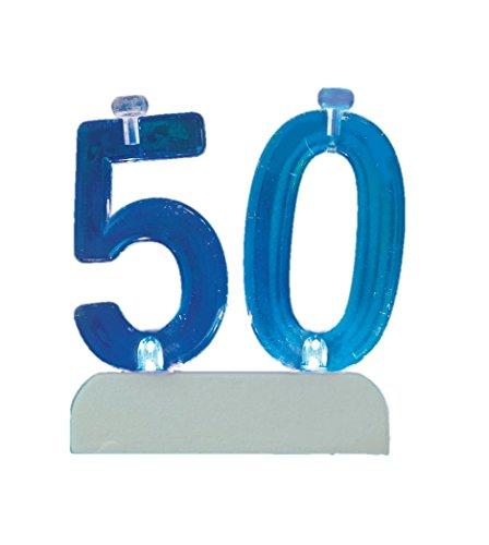 Unique Party- Portavelas de cumpleaños intermitente número 50 con 4 velas (37545)