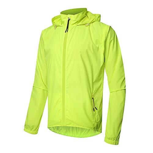 Regenjacke Herren Wasserdicht, Atmungsaktiv Reflektierende Fahrrad Jacken Gut Sichtbare Winddichte Regenponcho für das Radfahren im Freien Laufen,XXXXL