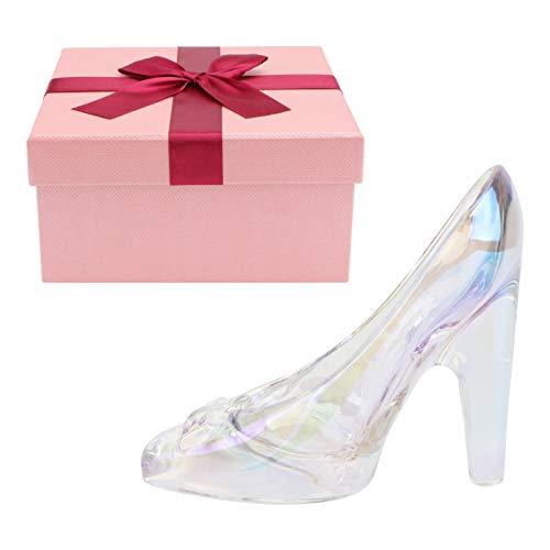 Happyyami Pantufa de vidro Cinderela, enfeite de sapato, cristal, Dia dos Namorados, aniversário, formatura, para mulheres, meninas, colorida