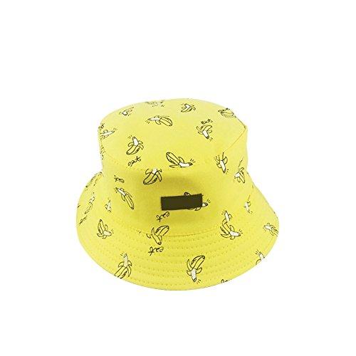 Fablcrew Chapeau de Pêcheur Bob Motif de Banane Pliable Chapeaux de Visière Coton pour Plage Loisir Voyage Femme Homme (Jaune)