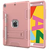 Ezavan Case for New iPad 10.2 2020/2019 (8th/7th Generation), Hybrid Heavy Duty Shockproof Full Body Protective Cover Case Built-in Kickstand & Pencil Holder for iPad 10.2 inch 8th/7th Gen (Pink)