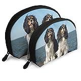 Charles Spaniel Dog Women 's Shell Cosmetic Pouch Clutch Sacs Portables Organisateur de Sac à Main avec Fermeture à glissière Un Grand et Un Petit 2Pcs