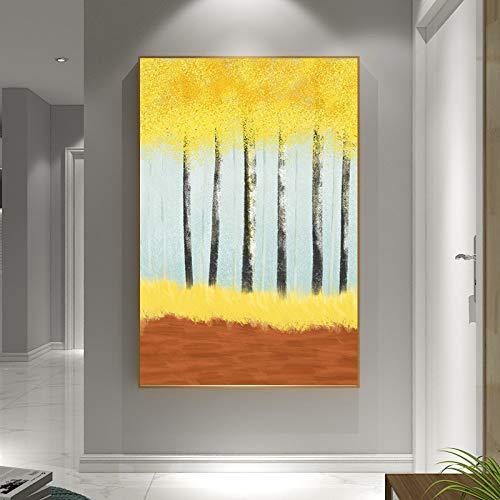 Handgeschilderd olieverfschilderij kunstwerk op canvas, groot abstract landschap geel tarweveld handgemaakte slaapkamer kamer nachtkastje wandbehang schilderij Scandinavische horizontale versie voor thuiskantoor decoratie 90×180cm(36×72 inch)