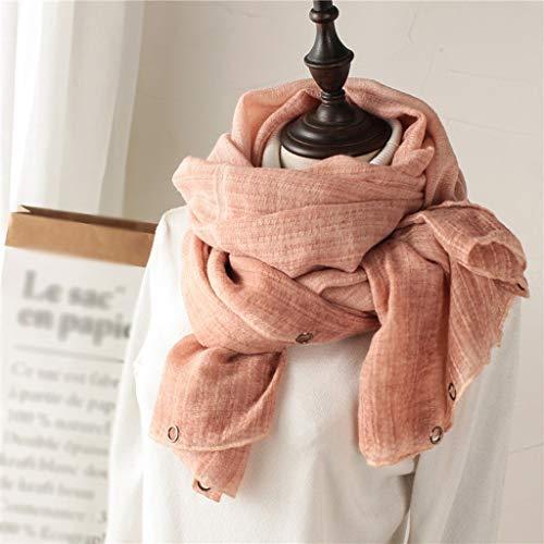 Herfst En Winter Katoen Sjaals Dames Lange Sectie Effen Kleur Sjaals Vrouwelijke Winter Literaire Riem Messing Gespen Sjaal Dual Wild Sjaal