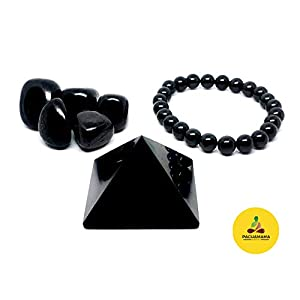 "Shungite EMF Protection Set, Pyramid 2"", Bead Bracelet, 5 Tumbled Stones"