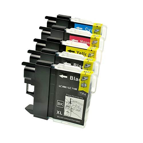 Logic-Seek 5 Tintenpatronen kompatibel für Brother LC-980 1100 Serie - 5 Patronen: 2xbk, 1x CMY - Brother DCP 145C 165C 185C 6690C 385C 585CW MFC 6490C 250C 290C 790CW 990CW 5490CN 5890CN 6490CW