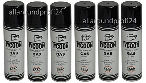 6 x Tycoon Feuerzeuggas + gratis 1 x Feuerzeug