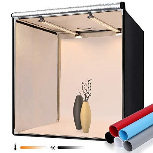 FOSITAN Fotostudio 60x60x60cm Bi-Color Dimmbare Lichtzelt mit 2X LED Beleuchtung, 5 Hintergründe (schwarz, blau, weiß, rot, grau) für Professionelle Fotografie