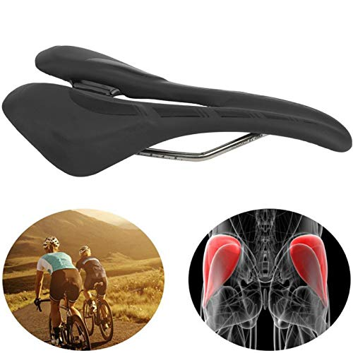 SALUTUYA Asiento de sillín Hueco Transpirable Accesorio para Bicicleta Funda de cojín para Bicicleta Asiento de Bicicleta de montaña, para Bicicleta de Carretera de montaña(Black)