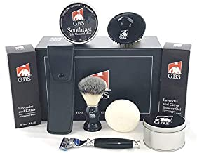 GBS- Ultimate Shave and Grooming Kit for Men:Scalp Shampoo Brush, Shower Gel, Travel shave soap, Synthetic Brush, Fusion Razor + Case, Aftershave Balm Hair Wax Gel - Fusion Gillette5 Blades Compatible