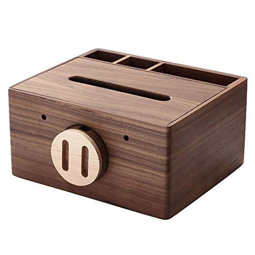 COLiJOL Caja de Papel Servilletero Caja de Pañuelos Caja de Pañuelos de Madera Cubierta con Bandeja Organizadora de Alenamiento de Escritorio