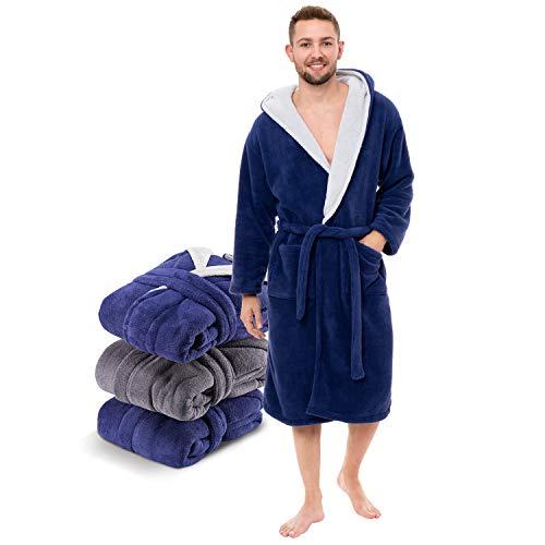 Twinzen - Peignoir Robe de Chambre Homme Polaire en Microfibre (100% Polyester) avec Capuche - Taille L - Bleu et Gris - Certifié OEKO-TEX®