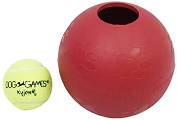 Outward Hound Kyjen 2452 Ball-In-Ball Dog Toy Interactive Puzzle Rubber Tennis Ball Dog Toy Large Red
