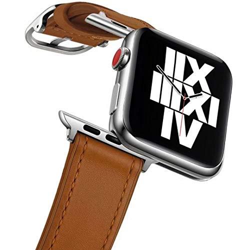 Fengyiyuda Bracelet Compatible avec Apple Watch 38mm 40mm, Bracelet de Cuir Remplacement pour IWatch Series 6/SE/5/4/3/2/1,Marron
