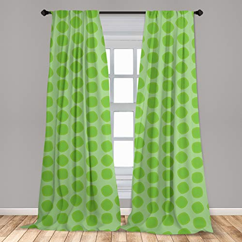 """Ambesonne Lime Green 2 Panel Curtain Set, Simplistic Formless Geometric Shapes in Different Shades Theme, Lightweight Window Treatment Living Room Bedroom Decor, 56"""" x 63"""", Green"""