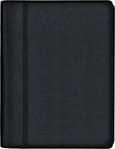 rido/idé 7021035901 Buchkalender futura 2, 2 Seiten = 1 Woche, 148 x 208 mm, Kalenderhülle Kunstleder schwarz, Kalendarium 2021, Wire-O-Bindung, mit Druckbleistift