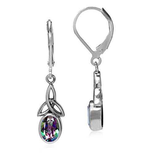 Silvershake 1.9ct. Mystic Fire Topaz 925 Sterling Silver Triquetra Celtic Knot Leverback Earrings