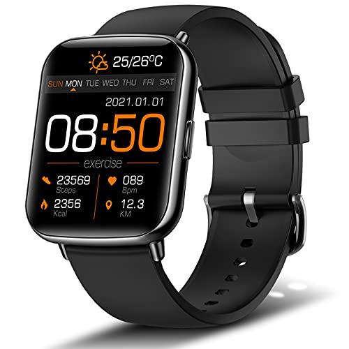Reloj Inteligente Hombre, VOTUENIX Smartwatch Hombre de 1.69 Pulgadas Pantalla Táctil Ccompleta IP68, Pulsera de Actividad Inteligente con 24 Deportes, Pulsómetro,Sueño,GPS,Caloría, iOS y Android