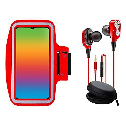 Brazalete movil Running con Auriculares con microfono Dual Driver Compatible con Todos los Smartphones de hasta 6.8