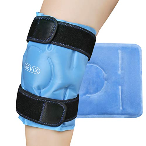 REVIX Knee Ice Pack for Injuries Reusable, Gel Ice Wrap with Cold Compression for Injury and Post-Surgery Recovery, Soft Plush Cover and Hands-Free Application