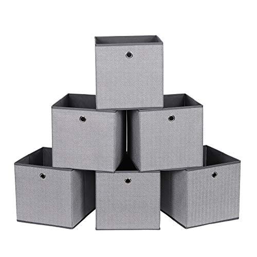 SONGMICS Juego de 6 Cajas de Almacenamiento, Cajas de Juguetes Plegables, Cestas de Organización, 30 x 30 x 30 cm, en Tela no Tejida Similar al Lino, Gris RFB002G01