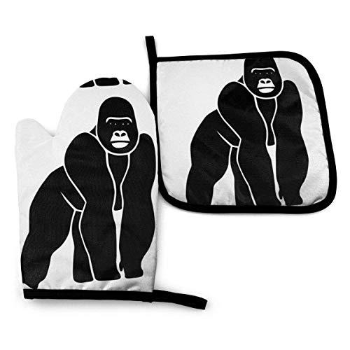 N\A Gorilla AFFE - Mitones de Horno y Porta ollas con Estampado de Mono, Guantes de Cocina Impermeables Resistentes al Calor para cocinar, Hornear, Barbacoa, Asar a la Parrilla (Juego de 2 Piezas)