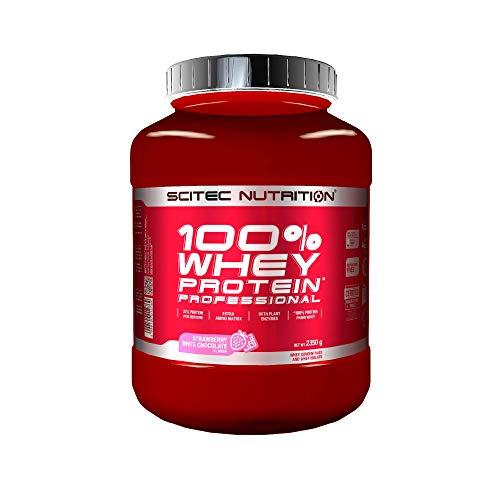 Scitec Nutrition 100% Whey Protein Professional, Zawiera dodatkowe aminokwasy i enzymy trawienneó, nie zawiera dodatku cukru, 2.35 kg, Truskawka-Biała czekolada