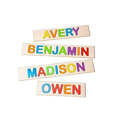 Rompecabezas de Madera con Nombre Personalizado, Letras de Texto grabadas Personalizadas, Juguetes de Aprendizaje temprano Coloridos Hechos a Mano para bebés