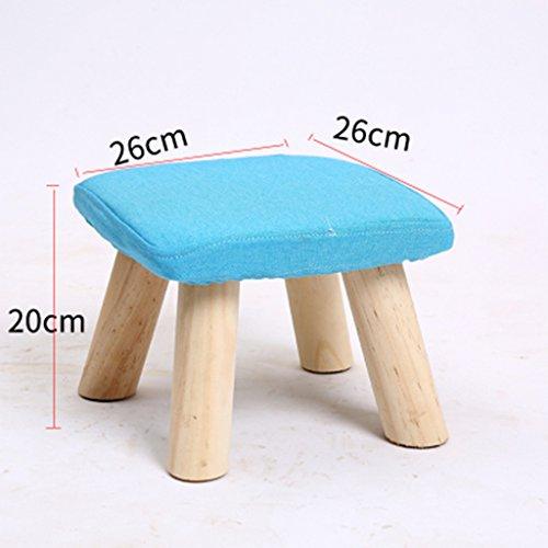 Salon Tabouret de canapé en bois massif Tabouret de famille Tabouret de chambre 26 * 26 * 20cm (Color : Sky blue)