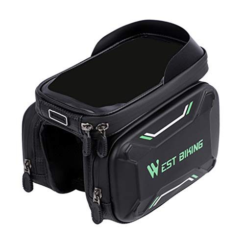MagiDeal Bolsa Bici con Pantalla Táctil Soporte para Telefono Móvil Impermeable Alforja de Cuadro Bici para Teléfono Inteligente - Negro + Verde