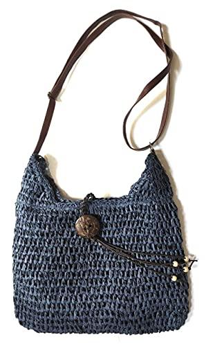 Faylinn - Bandolera Paja Mujer Tendencia Verano | Bolso de Hombro Ligero y Práctico - Sonia (M, Azul)