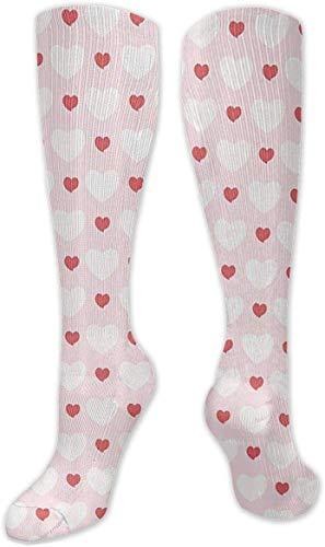 Calcetines de compresión grandes y pequeños en forma de corazón, para mujeres y hombres, ideales para correr, viajes, ciclismo, moda