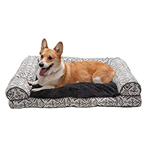 Furhaven Pet Dog Bed – Plush Kilim Southwest Home Decor Pillow Cushion Traditional Sofa-Style Living Room Couch Pet Bed with Removable Cover for Dogs and Cats, Boulder Gray, Large