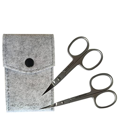 Juego de tijeras profesionales para uñas – tijeras extraafiladas de acero inoxidable – Incluye tijeras de uñas en una funda de fieltro – también para zurdos (gris)
