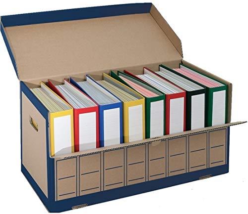 Pressel® Archivbox, für 8 Ordner, mit Klappe, 65,5 x 31 x 33,5 cm, braun/blau (10 Stück), Sie erhalten 1 Packung á 10 Stück