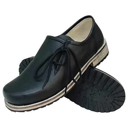 Trachtenschuhe Haferlschuhe Trachten-Schuhe Glattleder schwarz Antik-Leder glatt matt Schnürschuhe Lederschuhe Halbschuhe Herrenschuhe zur Lederhose oder Anzug Schuhe für Herren, Größe:44
