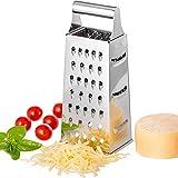 reibe edelstahl, gemüsereibe 4 Reibeflächen feinen/groben Reiben mit extra scharfen Reiben für Kartoffelreibe Gurkenhobel und Käse (8,26 * 3,34 Zoll)