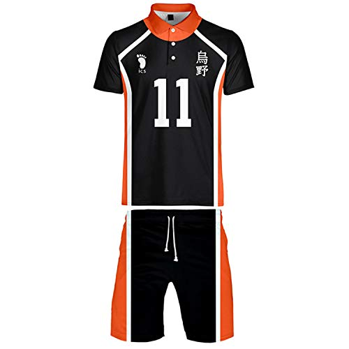 RENDONG Haikyuu Cosplay Kostüm T-Shirt Kurzarm Herren Volleyball T-Shirt Frauen Rüttler Gym Sweat Suit Short Sleeve Und Shorts 2 PCS,11,M