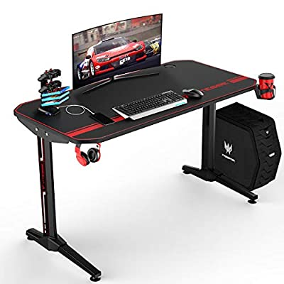 VIT Ergonomic Gaming Desk, T-Shaped Office PC Computer Desk with Full Desk Mouse Pad, Gamer Tables Pro with USB Gaming Handle Rack, Stand Cup Holder&Headphone Hook