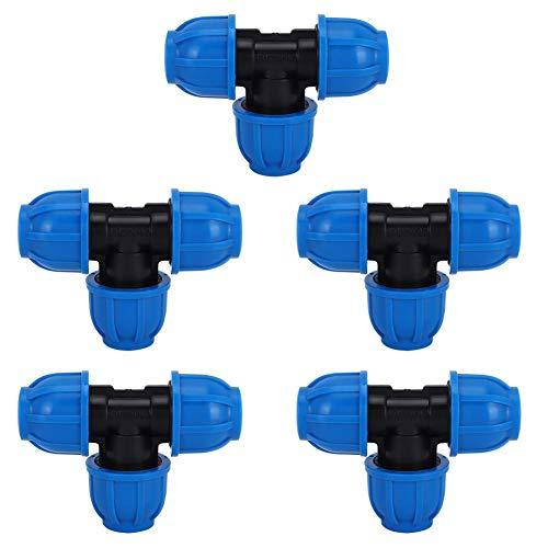 Cafopgrill 5Pcs Tee Pipe Wasseranschluss, Tee Fitting Rohradapter PE Kunststoff 20mm bis Dual 20mm Tee Connector Adapter Wasserrohr Fitting Zubehör