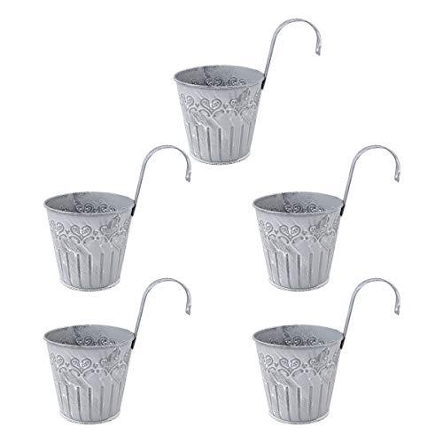 Hemoton 5 Pezzi Vaso portafiori in Metallo a Forma di Secchiello da Appendere