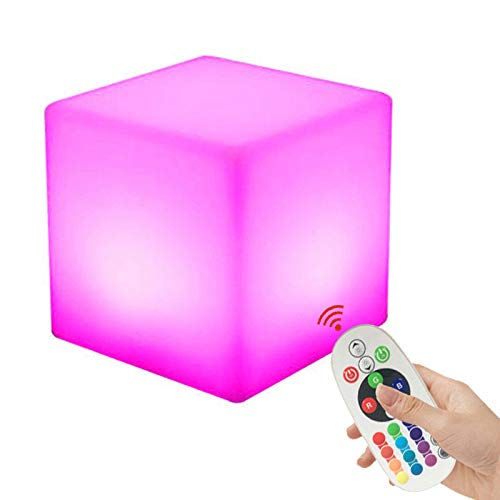 YQHWLKJ Wiederaufladbarer LED Light Cube Hocker Wasserdichte Fernbedienung Magic Rgb Farbwechsel Beistelltisch Home Schlafzimmer Party Lampe Nacht