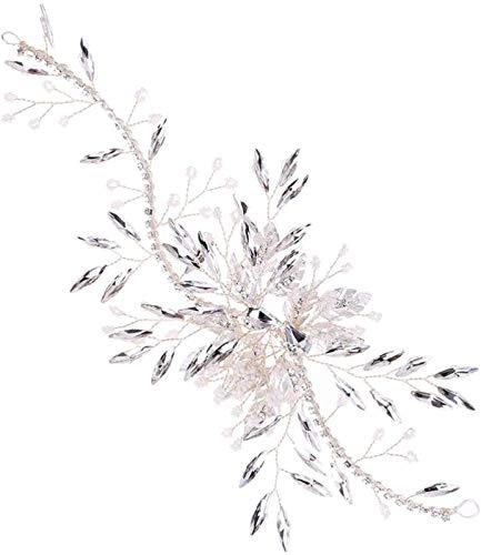 Hochzeit Kristall Haar Pins Perle Blume Braut Haarstücke Seitenhaarkämme Zubehör für Braut Frauen Dame (Silber)