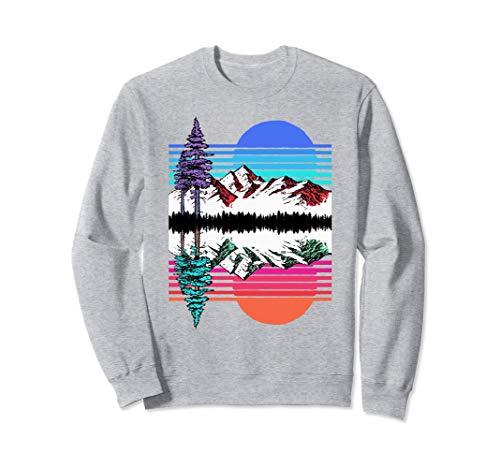 Mountain & Trees Reflection Vintage 80's Vapor Wave Outdoor Sudadera