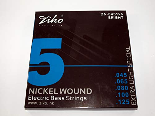 Juego de 5 cuerdas para Bajo Eléctrico marca Ziko Modelo DN-045125 calibre:045-125 Extra Light
