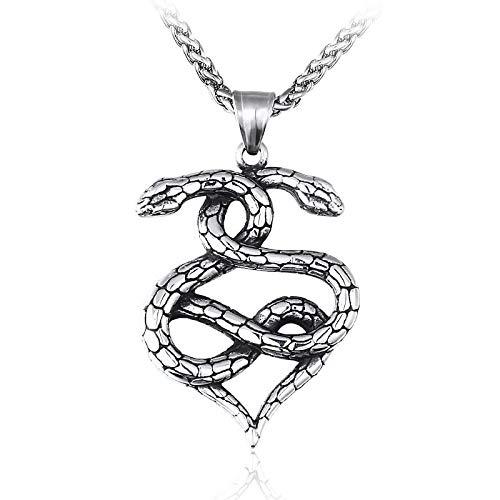 YioKpro Collar con Colgante de Serpiente para Hombre, Collar de Amuleto de Acero Inoxidable, Colgante de suspensión de Serpientes Punk, joyería Maxi para Hombre Lhp121